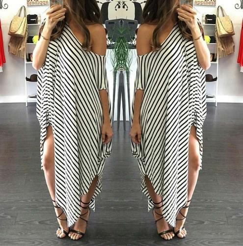 Nuevas mujeres suelto vestido largo a rayas de manga del Batwing Split Off-hombro asimétrico Casual Maxi Plus tamaño vestido blanco
