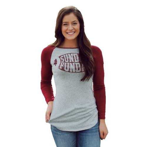 Mode Frauen T-Shirt Farbe Block Brief drucken unregelmäßige Saum lässige Bluse Pullover grau/weiss