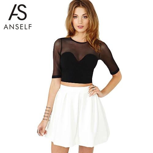 Nueva moda mujeres Mini falda sólida plisado cremallera expuesta detrás de fijación blanco Casual