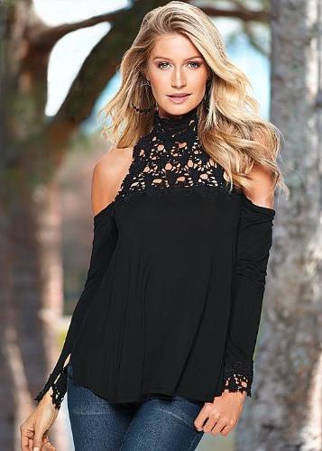 Kobiety Moda Bluzka Crochet Lace Hollow Out zimne ramię dzielona Cuffs Przypadkowy Topy Czarny / Burgundia