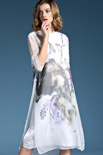 Moda mujer seda gasa vestido impreso media manga O cuello dama elegante vestido blanco
