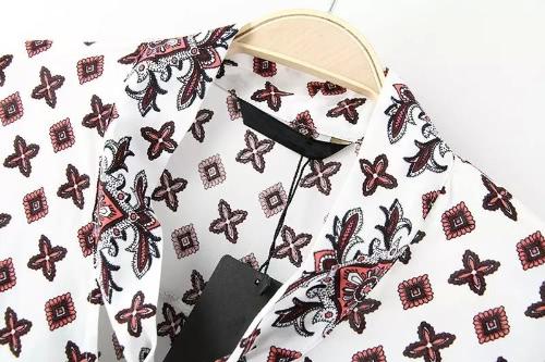 TOMTOP / Nova Europa mulheres blusa retrô impressão arco v-Neck manga longa camisa Casual Tops branco