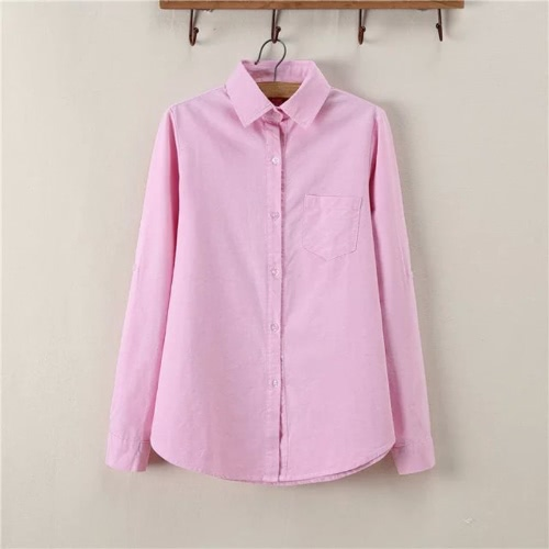 New Fashion Women Shirt Solid Point Collar Long Sleeve Chest Pocket Casual Spring Autumn Blouse