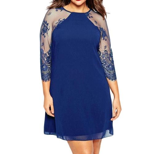 Le donne mini nuovo modo pizzo abito chiffon 3/4 Maniche raglan O Collo Plus Size casuale Tubino blu