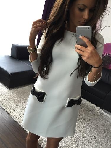 Neue Mode Frauen kleiden Bow kleine Tasche Runde Hals drei-Viertel Ärmel Kleid