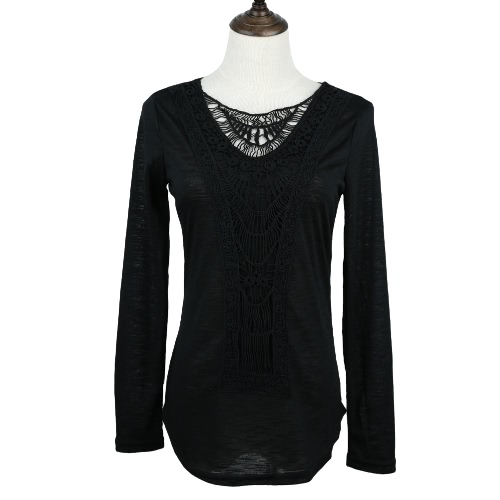 Nueva moda mujer camiseta Crochet encaje Panel redondo cuello manga larga blusa ocasional sólida Fit Slim verde/blanco/de color caqui