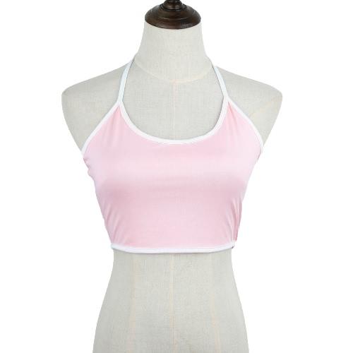 New Casual Women Vest Multicolor Optional Personality Bra Crop Top Brief Halterneck Vest
