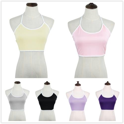 TOMTOP / Mulheres Casual novas colete sutiã personalidade opcional Multicolor Crop Top breve Halterneck colete