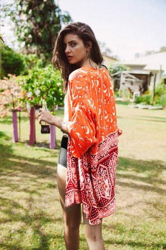 Contraste frontal abierto Cardigan de mujer, nuevo y con moda imprimir media manga Kimono naranja