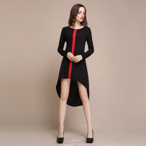Nueva moda mujer vestido contraste raya Vertical más largo volver Irregular asimétrica informal una pieza blanco y rojo