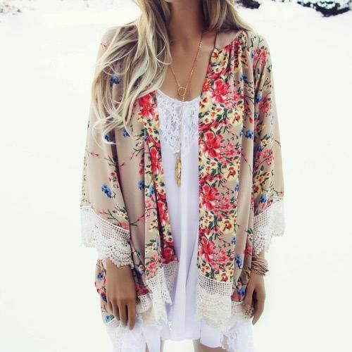 Mujeres Vintage sueltas Kimono gasa chaqueta Floral Print encaje dobladillo largo manga playa Casual ropa Boho superior de color caqui