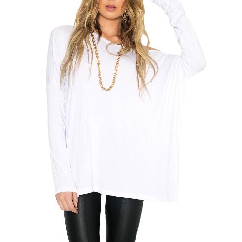 Nova Europa mulheres soltas t-shirt O pescoço fora do ombro manga longa Casual moda sólido Tee pulôver Top preto/branco