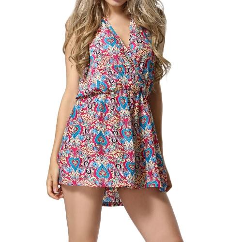 Nueva moda mujeres Playsuit corazón vestido Floral de impresión sin mangas Halter sin respaldo Enterizo rosa/azul
