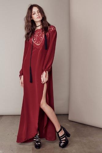 Nowe Seksowne kobiety Maxi Sukienka Koronka Otwórz Wróć Udo Podział wokół szyi z długim rękawem Sukienka Czarny / Burgundy