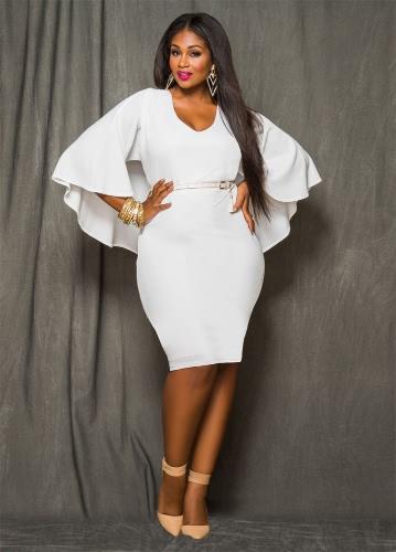 Elegant V Neck Batwing Half Sleeve Cape Women's Plus Size Bodycon Midi Dress