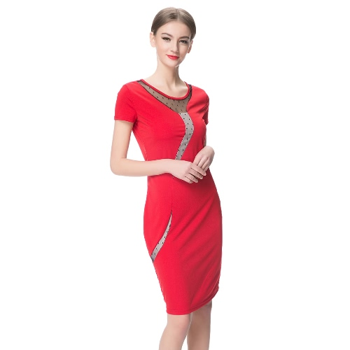 Elegant Women Dress Mesh Round Neck Short Sleeve Back Zipper Solid Color Bodycon Dress Black/Red