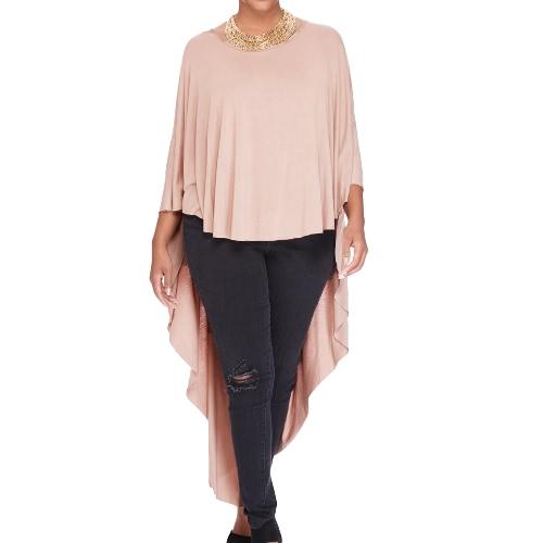 Nova moda mulheres cabo t-shirt trimestre três Batwing manga O pescoço assimétrico bainha solta Top Pink