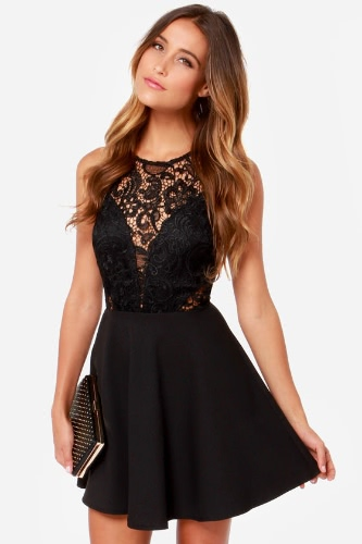 Mujeres sexy Mini vestido de malla encaje empalme nuevo recorte vestido Skater-vestido sin mangas Partido Clubwear negro