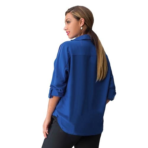 TOMTOP / Nova moda mulheres blusa gola v manga longa virada para baixo de gola camisa Casual Tops soltos