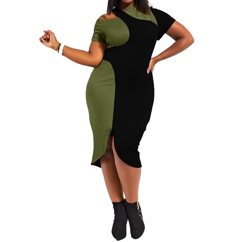 New Women Midi Dress Plus Size Cut Out Cold Shoulder Color Splice O-Neck Short Sleeve Casual Dress Dark Green