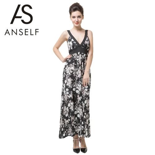 Nueva moda mujer vestido lazo impresión Floral cintura V profunda cuello acolchado sin mangas vestido de fiesta negro