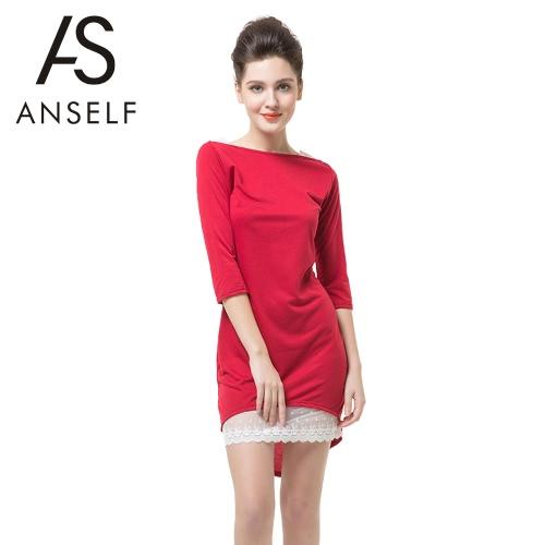 Moda mujer vestido Slash cuello media manga encaje decoración borde Irregular Sexy Slim rojo