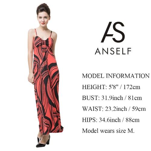 Neue Mode Frauen Maxi Kleid Kontrast Streifen Print Color Block Spaghetti Strap Casual Strand Kleid Orange