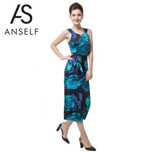 Nuevo Retro mujeres Midi vestido Correa nuevo sin mangas abierta impresión Floral Slim elegante vestido azul de fiesta Clubwear