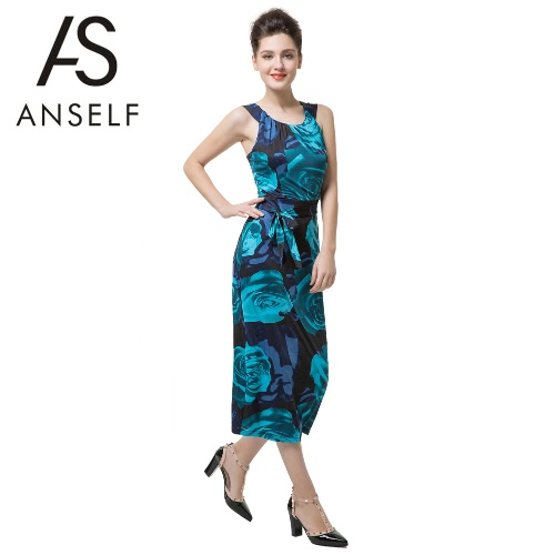 Nova retrô mulheres Midi vestido Floral impressão aberta volta sem mangas Correia magro elegante vestido Clubwear festa azul