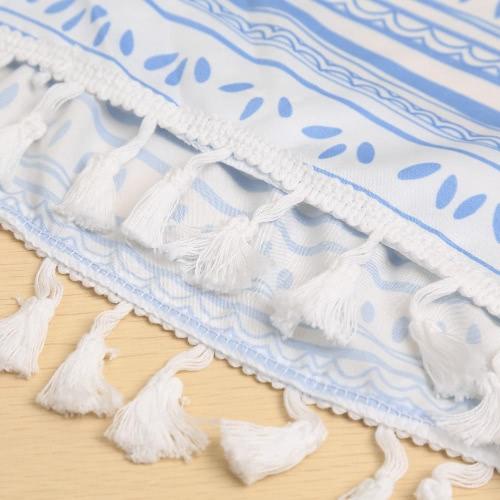 TOMTOP / Novas mulheres Sexy duas peças conjunto impressão Tassel Halterneck Crop traseira aberta superior cintura elástica Shorts azul