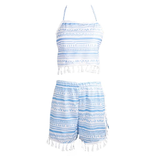 Sexy Two-Piece Set Halter Backless Tassel Top Elastic Waist Shorts for Women