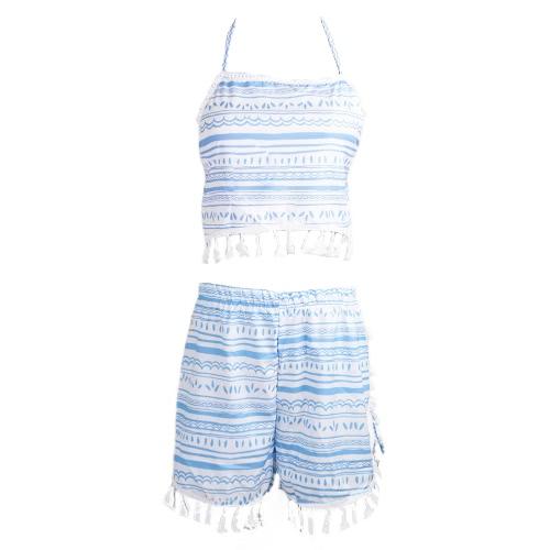 Novas mulheres Sexy duas peças conjunto impressão Tassel Halterneck Crop traseira aberta superior cintura elástica Shorts azul