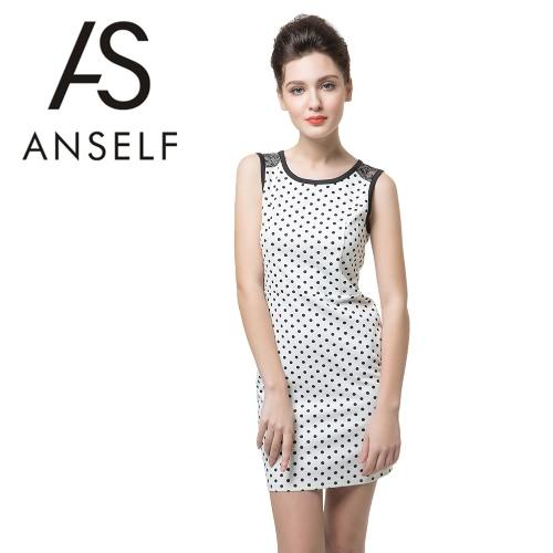 Nueva moda mujer vestido lunares encaje Floral impresión trasera cremallera expuesta sin mangas Mini elegante una pieza blanco