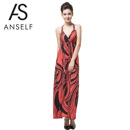 New Fashion Women Dress Print Halter Deep V-Neck Cross Backless Slim Sexy Dress Red