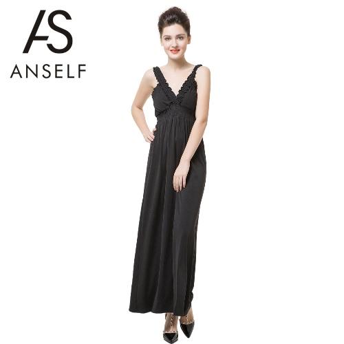 Nova moda mulheres sem mangas vestem com decote em v profundo plissado sem costas Sexy vestido longo preto