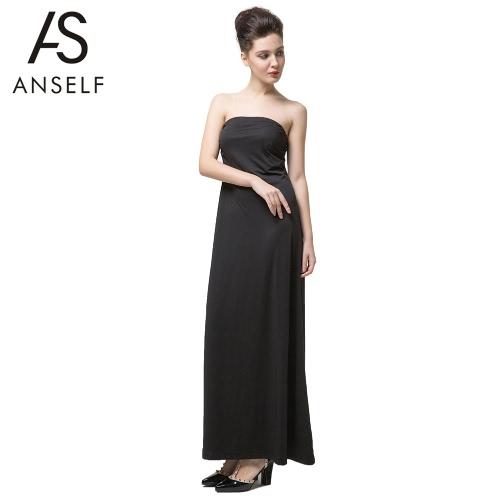 Nova moda mulheres Maxi Vestido Strapless Decote Ruched sólido Regular cabe elegante monobloco preto