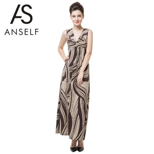 Sexy Twist Deep V Neck Elegant Print Sleeveless Maxi Dress for Women