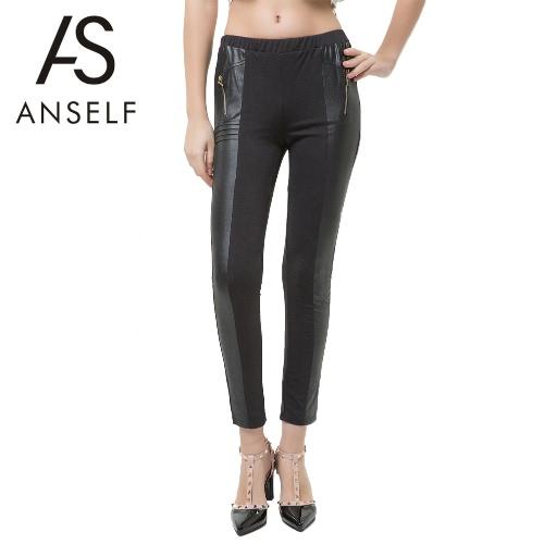 Mulheres Sexy Leggings magros PU couro Splice cintura elástica Bodycon estiramento lápis calças calças collants Jeggings preto