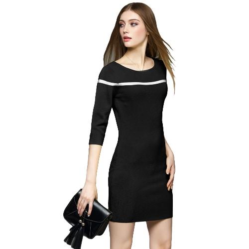 New Fashion Women Knit Dress Round Neck Half Sleeve Slim Bodycon Dress Black/Light Green/Blue