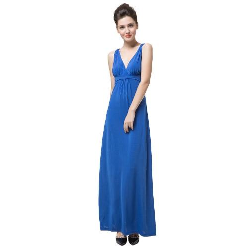 Nueva mujer elegante vestido Maxi Color sólido V cuello sin mangas abierto Volver Sexy vestido fiesta Cocktail azul