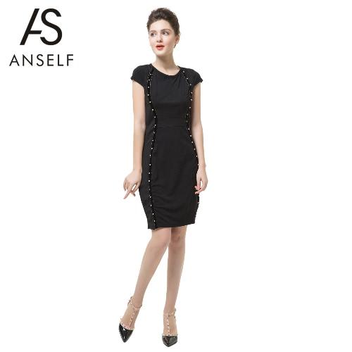 Nova moda mulheres lápis vestido cravejado decoração manga curta frontal de zíper Bodycon Mini ajuste preto