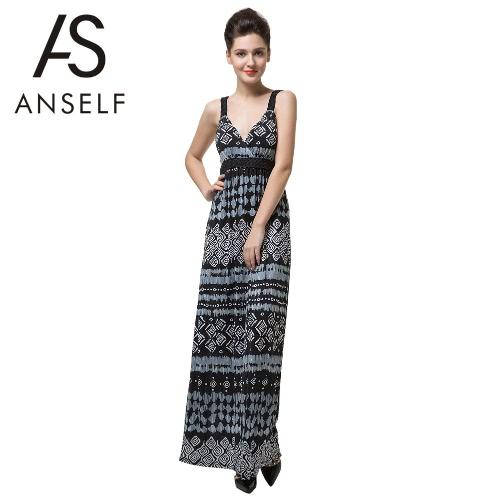 Nuevo Sexy mujer vestido Maxi largo V profunda impresión geométrica cuello resbalón fiesta Bohemia elegante Backless vestido negro