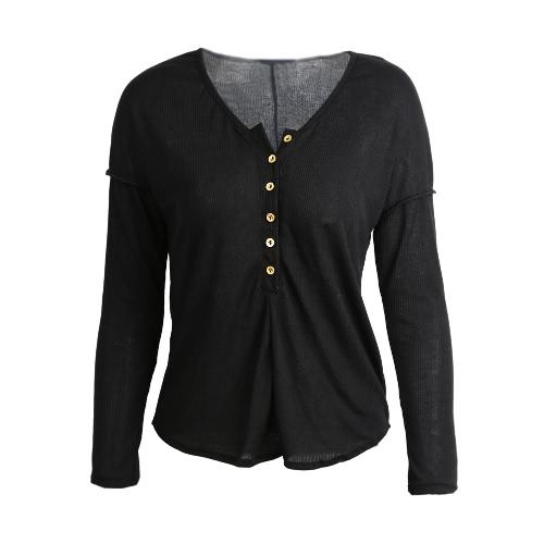 Nueva moda mujer camiseta botones en cuello redondo manga larga Color sólido superior negro/blanco