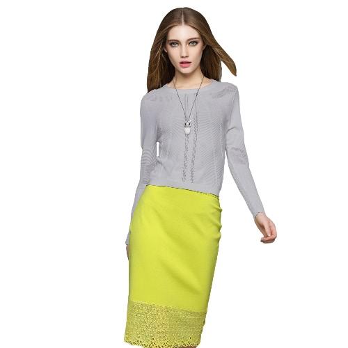 Nueva moda las mujeres suéter de punto acanalado adornos de cuello redondo larga manga corta jersey blanco/gris/amarillo