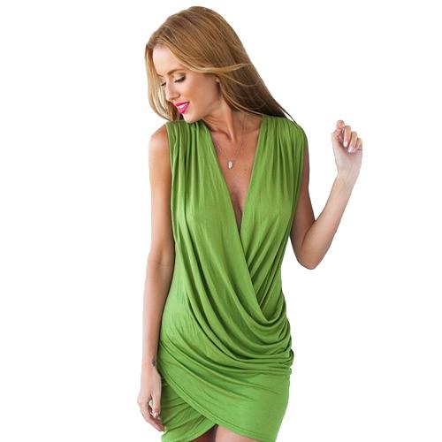 Nueva mujer Sexy Mini vestido cruzado fruncido frontal profundo escote en v sin mangas fiesta Bodycon Club vestido gris/negro/verde