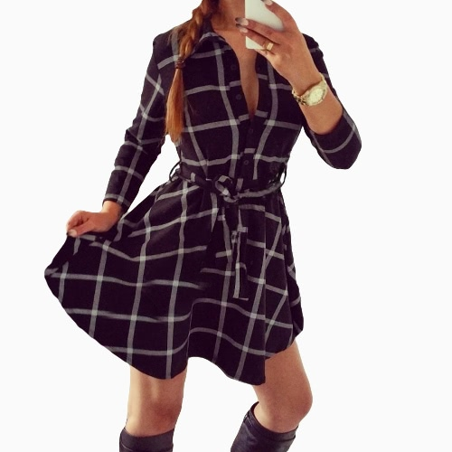 Nueva moda mujeres Plaid vestido dé vuelta-abajo cuello 3/4 manga fajas Retro con cinturón vestido Mini blanco/rojo/negro
