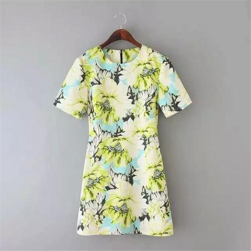 Nueva mujer elegante Mini Vestido estampado Floral O cuello manga corta vestido Slim primavera Vestido de verano amarillo