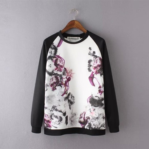 Fashion Floral Print Contrast Splice Long Sleeve Casual White Sweatshirt for Women