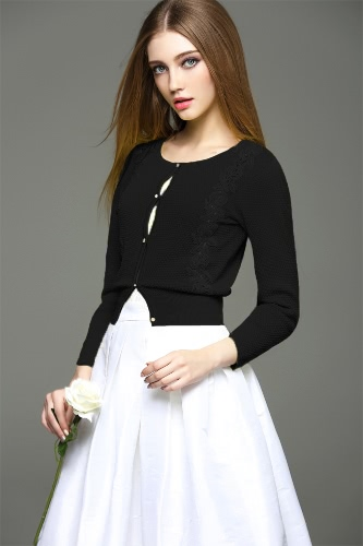 New Elegant Women Knitted Cardigan Crochet Lace Splice Long Sleeve Button Front Slim Outerwear Coat Knitwear White/Black/Yellow
