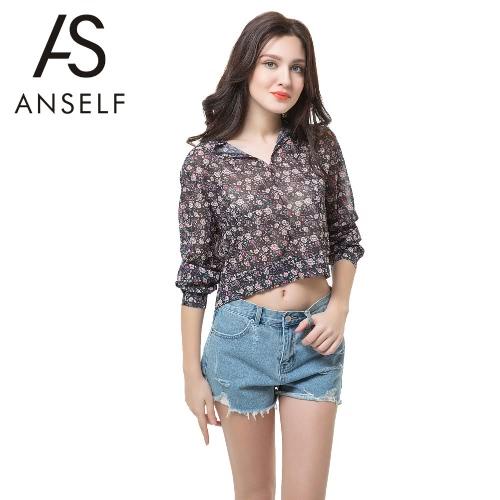 Nueva moda mujeres blusas gasa flor arco soporte de impresión cuello linterna manga botón blusa elegante negro